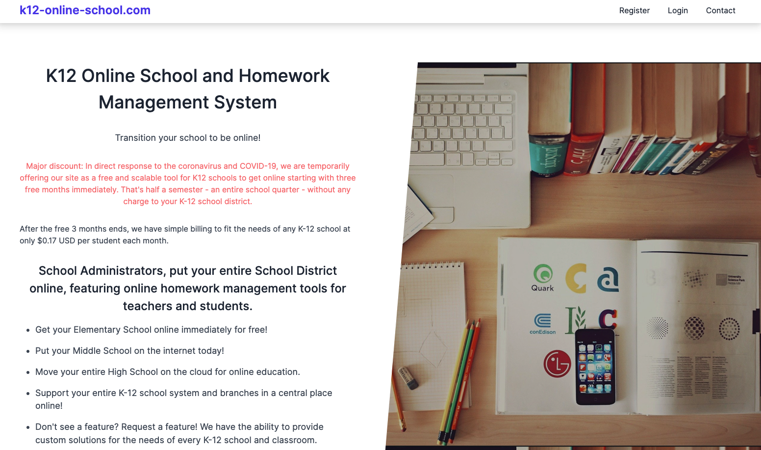 Teachers can manage students & assignments; students can upload their homework solutions.